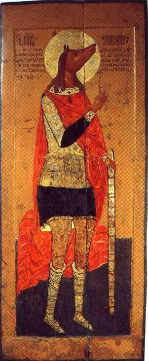 """'' according to which he came from a land of cannibals and dog-headed peoples. The Greek tradition came to interpret this passage absolutely literally, and this is why Byzantine icons often depicted St. Christopher with a dog's head. In time, of course, this led to a reaction against St. Christopher. The Latin tradition developed along different lines, however, since early Latin translations did not always render a literal translation of the original Greek term """"dog-headed"""" (kunokephalos), and some seem to have translated it as """"dog-like"""" (canineus). This was amended to read """"Canaanite"""" (Cananeus) as time progressed since it was obvious that he could not really have been """"dog-like"""".7 It is important at this point to emphasize that the description of Christopher as from the land of the dog-headed has absolutely nothing to do with the Egyptian cult of the jackal-headed god Anubis.8 The real explanation is rather more prosaic. In brief, the civilised inhabitants of the Greco-Roman world had long been accustomed to describe those who lived on the edge of their world and beyond as the strange inhabitants of stranger lands, cannibals, dog-headed peoples and worse.''"""