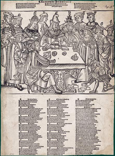 Un jeu de cartes brocarde les Suisses Le Revers du jeu des Suysses. Lyon (?), 1514 ou 1515. Gravure sur bois, lettre typographiée. 36,2 x 26,2 cm BnF, Estampes EA 17 Rés. tome I Longtemps tenue pour la plus ancienne caricature, cette xylographie à thème très politique paraît se situer en 1514 ou 1515, dans le contexte de la bataille de Marignan. Nettement anti-suisse, la gravure est copiée sur un modèle germanique, peut-être suisse, raillant la politique européenne des grands et les arrangements passés entre eux.