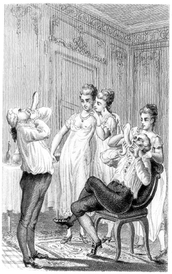 Giacomo Casanova (1725-1798) having fun with condoms in front of ladies.   Photo source: Wikimedia Commons