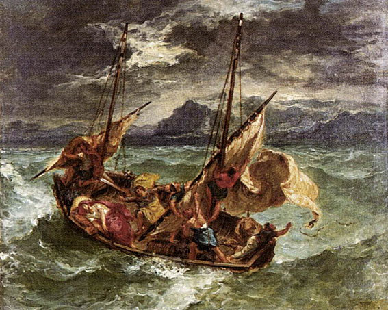 Delacroix. Christ on the Lake of Gennezaret: 1854. Influence of Gericault.