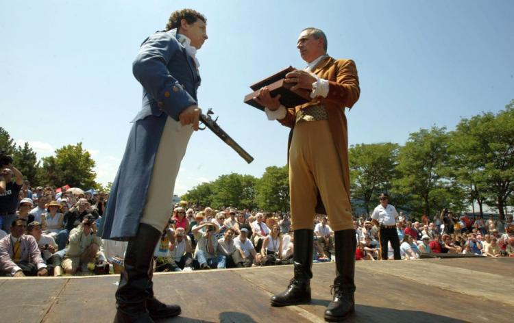 Aaron Burr reenactment with Alexander Hamilton
