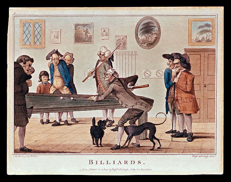 horse and foot races were sports of choice for improving a person's leisure hours. Indoors, a game of cards or billiards, seen here in an eighteenth-century English print by Henry Bunbury, prompted friendly competition at the local tavern.