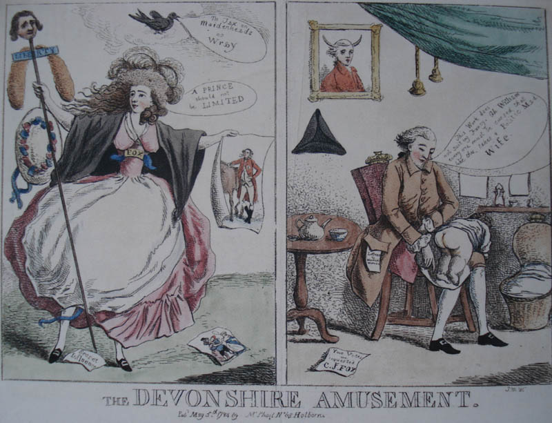 ''The above image is one of my favorite depictions of her Grace. It is a satirical image from 1784, which happened to be a very big year in the Duchess' life. Not only did she have her first child after years of painful miscarriages, but she also became notorious for her part in the 1784 Westminster elections. In fact, this seemed to be the thing she became the most known for, besides of course being a leader of fashion. She became the first woman to canvass for a political leader, hers being Charles James Fox. The image shows Georgiana on the left brandishing a staff with the head of Fox on it, identifiable by the fox tails. She holds in her other hand an image of the Prince of Wales, another Whig figurehead. In the right panel we see her cuckolded husband tending to their child.''