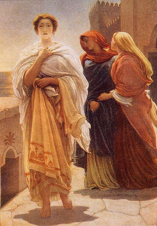 Frederick Leighton. ''Another popular subject is Helen by herself: these paintings, all from the late 1800s, are portraits of her, the artists' effort to capture the ultimate beauty of the ideal woman, but along with her comes the cost of the death and destruction of Troy.''
