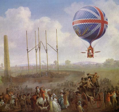 """''""""Vincent Lunardi used a Union Jack design on all his later balloons, and attracted increasingly large crowds to his launches. In 1785 he took his displays as far north as Edinburgh. But he often had trouble with crowd control, and rowdy disturbances became an important element in the balloon craze. It was dangerous to delay departure beyond the promised hour, even if the balloon was not sufficiently inflated or the wind was adverse. When the newspapers reported a successful launch, it often simply meant that the balloon had lifted off on time and no one in the crowd had been killed.""""  """"Lunardi's reputation was badly damaged the following year, when on 23 August at Newcastle a young man, Ralph Heron, was caught in one of the restraining ropes, lifted some hundred feet into the air, and then fell to his death.''"""
