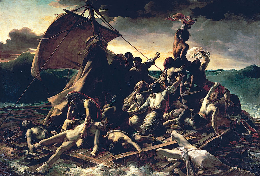 ''In expressing the predicament of the shipwrecked everywhere in the world, Géricault had laid the foundations of an aesthetic revolution. The Raft of the Medusa marks the first appearance in painting of 'the ugly' and thereby proclaims its scrupulous respect for the truth, however repulsive the truth might be. This concern for truth is integral to the Romantic temperament.  For his Salon picture in 1819, Géricault chose a dramatic episode — the wreck of the frigate Meduse, which had set off with a French fleet on an expedition to Senegal, and had been lost in July 1816. The French admiralty was accused of having put an incompetent officer in charge of the expedition; he was the Comte de Chaumareix, a former emigre who had not commanded a vessel for twenty-five years. The picture was an enormous success, more on account of the scandal than because of an interest in the arts; but Géricault only received a gold medal, and his picture was not bought by the government. One wonders who it was suggested commissioning this painter of horror subjects to do a Sacred Heart.  Géricault was mortified, and decided to exhibit his picture in England, where a pamphlet had been published on the wreck of the Meduse. He entrusted the vast canvas to an eccentric character named Bullock (as Lethière had done with his Brutus Condemning his Sons), and it was exhibited in London from 12 June to 31 December 1820, and in Dublin from 5 February to 31 March 1821. Géricault received a third of the takings, and the operation brought him in quite a large sum (probably 20,000 francs).''