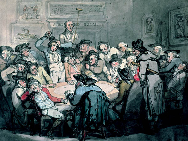 English: Thomas Rowlandson, brother satirist to Hogarth, painted his version of a gaming den in The Hazard Room. On the walls is a bouquet of gambler's delights: boxing, horse racing, the odds of the day, and the patron saint of card games, Edmond Hoyle. Date 1 January 1792