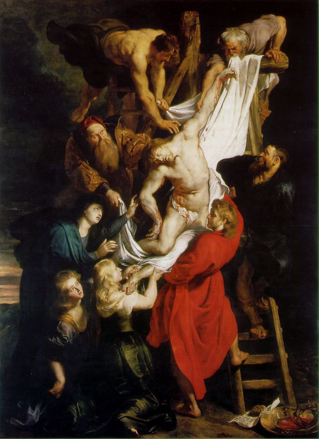 """Altarpieces such as The Raising of the Cross (1610) and The Descent from the Cross (1612-1614) for the Cathedral of Our Lady were particularly important in establishing Rubens as Flanders' leading painter shortly after his return. The Raising of the Cross, for example, demonstrates the artist's synthesis of Tintoretto's Crucifixion for the Scuola di San Rocco in Venice, Michelangelo's dynamic figures, and Rubens's own personal style. This painting has been held as a prime example of Baroque religious art."""