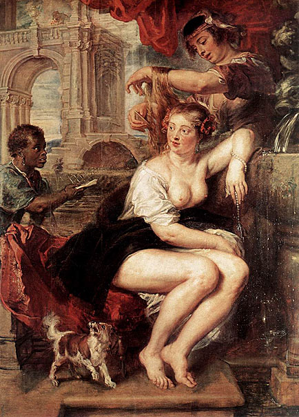 Rubens. Bathsheba at the Fountain. 1635.Rubens depicts Bathsheba at her toilet, sitting at a fountain. A messenger is shown arriving with a letter sent by King David who is barely visible at the upper left corner of the painting.
