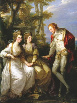 ''Angelica Kauffman was no stranger to the Spencer brood. In 1774 she painted a portrait of Georgiana, Harriet, and George. In it she captures the young siblings before marriages, gambling problems, political careers, and celebrity. You can also see how much attention surrounded Georgiana, with the way both of her siblings are focused on her while she, herself, makes eye contact with the viewer.''