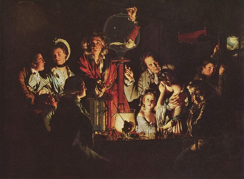 ''Joseph Wright is notable for his use of Chiaroscuro effect, which emphasises the contrast of light and dark, and for his paintings of candle-lit subjects. His paintings of the birth of science out of alchemy, often based on the meetings of the Lunar Society, a group of very influential scientists and industrialists living in the English Midlands, are a significant record of the struggle of science against religious values in the period known as the Age of Enlightenment.''