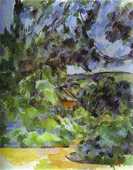 "Cezanne. Blue Landscape. 1904-06""He sometimes worked on the same picture for years, never satisfied with the results. He seldom signed his works, because he never considered them finished. Those he did sign had his mark of approval.  During the last decade of his life, Cézanne's paintings became more simplified, the objects in his landscapes reduced to components -- cylinders, cones and spheres. He is often seen as anticipating cubist and abstract art, because he reduced the imperfect forms of nature to these essential shapes. By the time of his death in 1906, Picasso and Braque were in the midst of exploring the most radical implications of his style."""