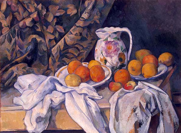 "Still Life With a Curtain. 1895. ""Most of his pictures are still lifes. These were done in the studio, with simple props; a cloth, some apples, a vase or bowl and, later in his career, plaster sculptures. Cézanne's still lifes are both traditional and modern. The fruits and objects are readily identifiable, but they have no aroma, no sensual or tactile appeal and no other function other than as passive decorative objects coexisting in the same flat space. They bear no relation to the colorful vegetables of Provence -- gorgeous red tomatoes, purple aubergines, and bright green courgettes. In his pursuit of the essence of art, Cézanne had to suppress earthly delights."""