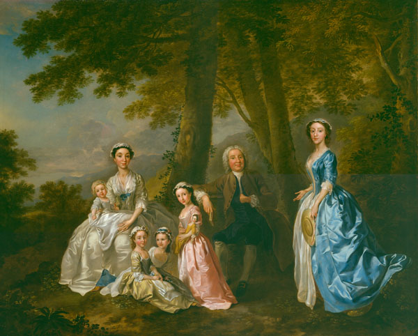 """Francis Hayman (1708 - 1776) Tate Collection 1740  A conversation piece depicting the novelist Samuel Richardson (1689-1761) with his second wife Elizabeth Leake, their four daughters and a friend of the family. Richardson achieved overnight success with his first novel, 'Pamela or Virtue Rewarded', published in 1740. This work may have been conceived to celebrate Richardson's success. Medium: oil on canvas Dimensions: 76.2 x 101.6cm Grant Paid: £150,000 ( Total: £1,000,000) ArtFunded in: 2006 Vendor: Agnew's"""