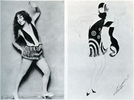 Ann Pennington rehearses a dance step, the Black Bottom, for George White's Scandals of 1925. For wHITE'S mANHATTAN mARY, 1927, Erté created a black bottom costume at right.