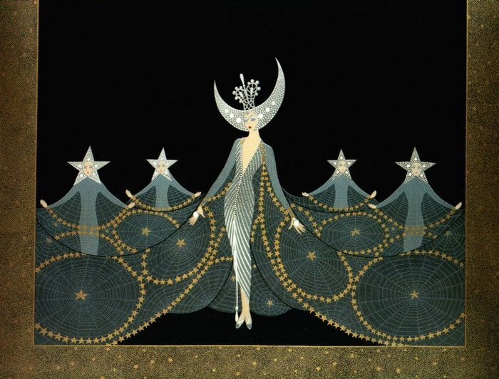 """Erte worked fearlessly, and he was blessed with strength and confidence and intuition. While the theatre world was long a haven for the queer, the early 1900s weren't exactly an ideal era to burst out of the closet in. Will and Grace had not yet brought camp into everybody's normal social circle. Madonna had not yet rolled out the red carpet. Furthermore, Erte was the only son of a Russian Imperial Fleet admiral. Still, his gayness must have been obvious even to those who had never known or heard of such a thing. Even as a child, Erte looked effeminate. He wanted to be a ballerina! He hated war passionately, unlike all the men in his bloodline who lived for their military duties. Erte had beauty, not violence, in his heart."""