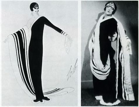 Among the designs that Erté produced for the Metro-Goldwyn Mayer studios in 1929 was the velvet and ermine gown at left. It is worn by Eileen Pringle, right, in The Mystic.