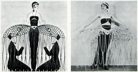 "Erte's ""improvised cage"" was on the cover of Harper's Bazaar in July, 1922. later that year, the design turned up as a costume, right, for the Greenwich Village Follies."