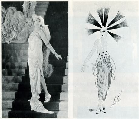 When ùerte began his career as a theatre designer, Mistinguett was the star of the French music hall. In 1917 she wore his costume, at right, in marvels of the Orient