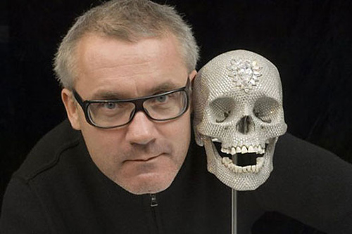 """Damien Hirst alongside most expensive piece of art by living artist ($100 million dollars): For the Love of God"""