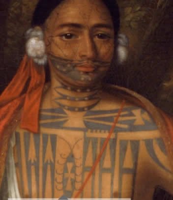 """Although tattoo artists see paintings of the four 'kings' as accurate accounts of the tattoos of these individuals, this viewpoint must be approached with caution. While the artist John Verelst most likely painted the faces of the four chiefs from life, their bodies and the background of the paintings may have been added later by the assistants in his workshop.7 It must also be taken into consideration as has been mentioned by members of the Mohawk community, that during this period the European interests were very much about eroticizing the 'other'"""