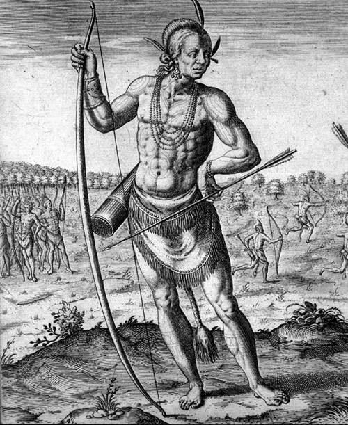 """engraved by Thomas de Bry in 1590 and was based on a drawing by John Smith in 1588. Titled ""A Werowan or Great Lord of Virginia,"" the portrait shows a Powhatan Indian holding a bow and arrow used for hunting and protection. His clothing and accessories are typical of pre-European contact Native American culture. """