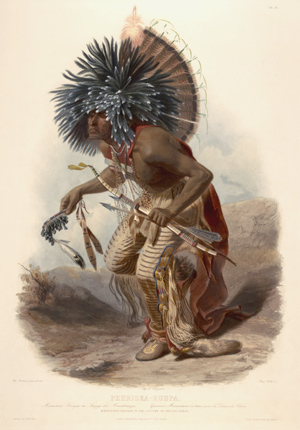 """Moenntarri Warrior in the costume of the dog danse"". Wied, Maximilian, Prinz von. Travels in the interior of North America during the years 1832-1834; illustrations by Karl Bodmer."