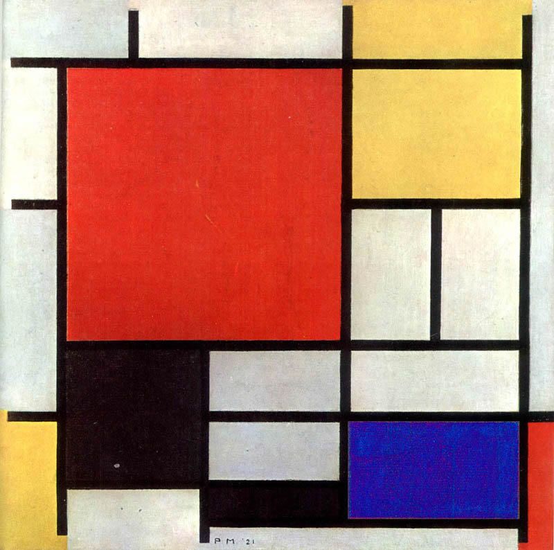 """Mondrian's studioThe prime mover of the De Stijl movement was the radically abstract painter Piet Mondrian. He created an entirely human-made reality and his artistic theories, expounded in the magazine, became De Stijl the movement. To Mondrian, red, yellow and blue were the only colours, apart from black and white. Yellow was expansive and vertical, blue the opposite to yellow – soft, retiring, horizontal. Red expressed the radiating movement of life, uniting yellow and blue in an 'inner' way, unlike their common mixture, green. Mondrian avoided the use of the colour green, because of its association with nature, and contemporaries recall the painter's manouverings to avoid having to look out the window at fields or trees. His paintings, with their asymmetrical black lines looked like they were part of a larger environment."""