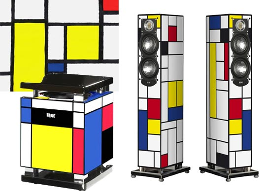"""From those crazy Germans who last brought us the Rubik's Cube subwoofer, the De Stijl artwork of Piet Mondrian is the latest source of inspiration for Electroacustic's newest line of speakers and subs..."""