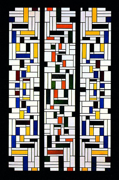 """Theo van Doesburg Stained-Glass Composition IV, stained-glass window in three parts for the hall, designs for the interior and exterior of the De Lange House, Alkmaar 1918 Kröller-Müller Museum, Otterlo"""
