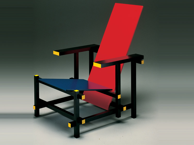 """When Dutch furniture designer Gerrit Reitveld designed the Red Blue Chair in 1918, he wanted to create a piece that used common dimensions of lumber and could be mass-produced. The focus was not on comfort but on the logical and simplistic design. To this day his chair exemplifies functionalism as well as the de Stijl movement (i.e. Piet Mondrian)."""