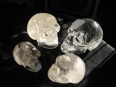 "Ultra clear crystal skulls are powerful amplifiers and magnifiers for pure intention. They hold and store more light, and almost seem to glow in the dark. Ultra clear crystal skulls can help cleanse and purify the mind, and raise one's vibration in preparation for ascension - this is why ultra-clear quartz crystal skulls are referred to as ""Ascension Crystal Skulls""."