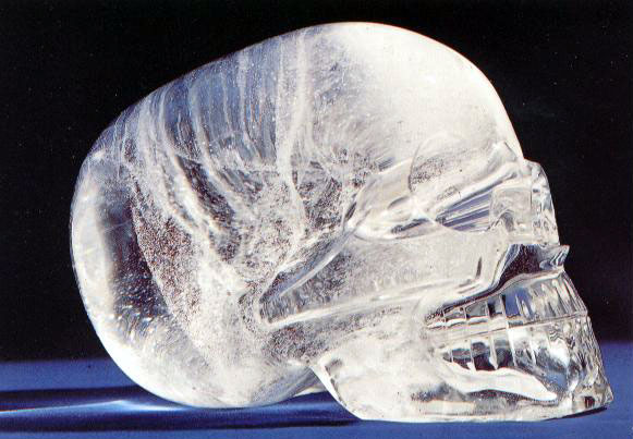 """The most widely celebrated and mysterious crystal skull is the Mitchell-Hedges Skull, for at least two good reasons. First, it is very similar in form to an actual human skull, even featuring a fitted removable jawbone. Most known crystal skulls are of a more stylized structure, often with unrealistic features and teeth that are simply etched onto a single skull piece.  Second, it is impossible to say how the Mitchell-Hedges skull was constructed. From a technical standpoint, it appears to be an impossible object which today's most talented sculptors and engineers would be unable to duplicate."""