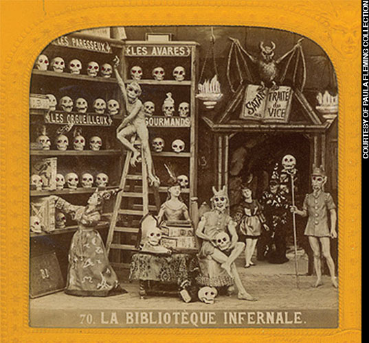 """The 19th century was a period of keen fascination with skulls and skeletons in Europe. During the reign of Louis Napoleon (1852-1870), French artists created stereoscopic photographs, called Diableries, of miniature dioramas of skeletons at dress balls, libraries (below), conferences with the devil, and in amorous trysts. Wicked lampoons of corruption at Napoleon's court, they illustrate how popular skeletal imagery was when the first crystal skulls made their appearance. (Courtesy of Paula Fleming Collection)"""