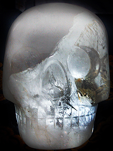 """..Ms. JoAnn Parks, now residing in Texas, is the current keeper, interpreter of thought, ambassador and owner of the 18 lb, ancient crystal sculpture of a human skull that she affectionately refers to as ""Max"". The skull came into her own personal possession via a personal family tragedy, and was given to her to be used as a ""healing tool"". Her relationship with the skull {yes, relationship: JoAnn almost always refers to the crystal sculpture as ""HE"" or MAX""... speaking as if she is describing a dear, personal friend...}. She takes Max on many, many professional speaking engagements across the country as to give believers in the crystal's power the help, the guidance that people are perhaps searching for themselves and that they believe that the crystal skull may provide"""