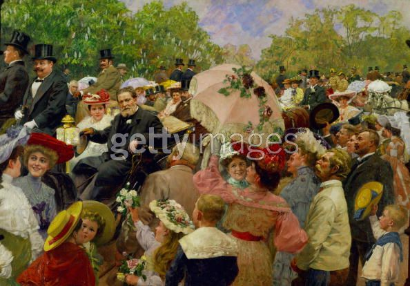 Karl Lueger, Vienna's mayor in 1904, is depicted in a park scene surrounded ...