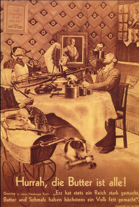 John Heartfield photomontage on guns instead of butter in nazi Germany