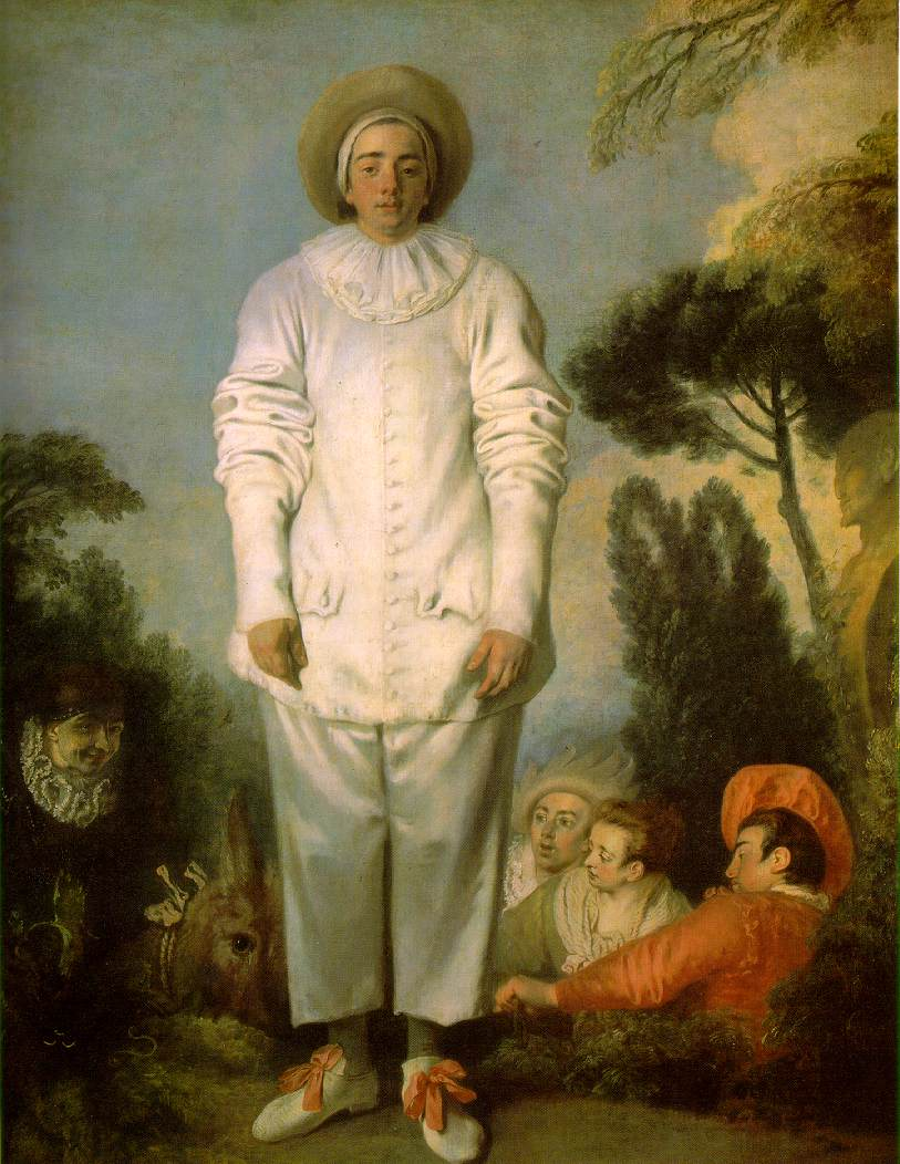 ---Above is the Louvre's famous Watteau, the even larger Pierrot. The actor playing Pierrot is certainly different from the one in the Getty painting, and the foliage is much sketchier in the Getty painting. To the right of the Getty's Pierrot is a Mezzetin who could be the same actor as in the Metropolitan Museum's Mezzetin and the Hermitage's Masquerade ---click image for source...