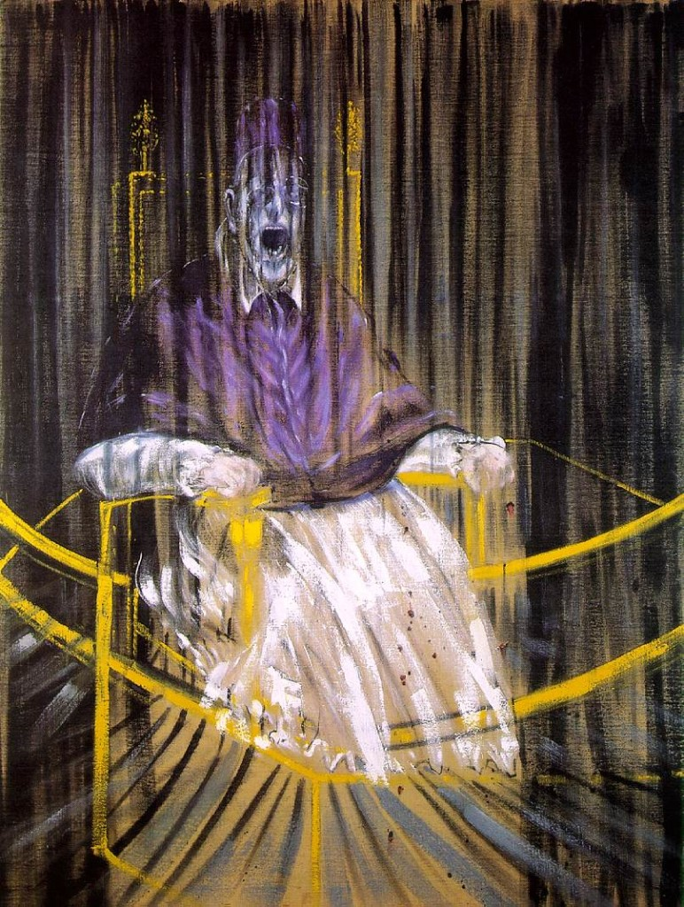"""---The hauntingly dark painting Study after Velazquez's Portrait of Pope Innocent X by Francis Bacon (figure 1) shows what appears to be a screaming Pope on a golden throne with vertical lines that blur the image as if covered by a gauzy curtain. The image brings about a myriad of questions as to thematic subject matter and ultimate goals of the piece. Did Bacon mean for this painting to be blasphemous? A look at the artist's history, the other images within the """"Pope"""" series and quotes from the artist himself will shed light on this question.---click image for source..."""