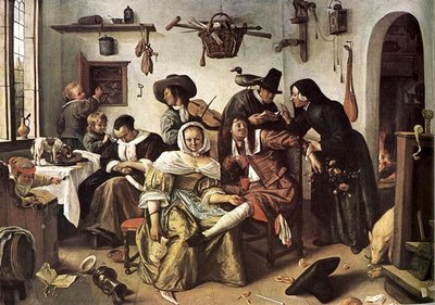 ---Tillich goes on to give examples in each category. For example, for Non-Religious Style & Non-Religious Content Tillich gives Jan Steen's The World Upside Down: ---click image for source...