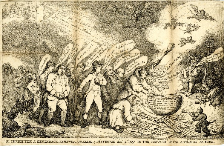 ---The Anti-Jacobin's prime target in 1798-99 was not the individual influence of the charismatic lecturer in any case, but Opposition newspapers and essayists. Apart from the usual Whig suspects, Thelwall's companions in the New Morality's procession of villains include Godwin, Coleridge, Southey, Holcroft, and Priestley besides representations of the Morning Chronicle, the Courier, the Star and the Morning Post. In A Charm for a Democracy (1799), produced by Thomas Rowlandson for the Anti-Jacobin Review, another motley procession of radicals presides over a seditious cauldron heated by a bonfire of Jacobin texts, including Thelwall's Rights of Nature, to a fare blown by a newsboy from the Courier. But this is a print that celebrates radical defeat; it is anything but alarmist. ---click image for source...