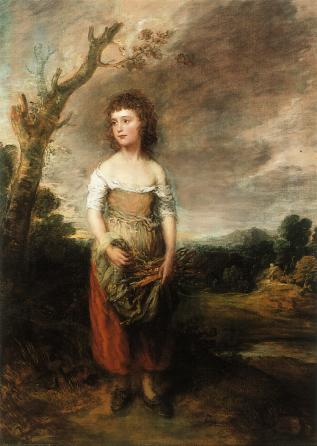 "---Gainsborough, Girl Gathering Faggots (Daughter of the Abdy family) 1782. This painting appeals to the idea of ""charity"" although the model for the girl was the daughter of an aristocratic family playing at being poor so this picture is also associated with retirement. At this time the aristocrats were in charge and the middle-class (or ""middling sorts"" as they were called) were a minor social category without the clear identity they achieved in the nineteenth century. Towards the end of eighteenth century it became more common to show the working class but associated with the idea of contentment. This idealisation was happening at a time, and perhaps because of, the increasing social unrest, sacking churches, rick burning, riots and so on.---click image for source..."
