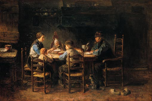 "---Van Gogh also admired Jozef Israels, a painter of fishermen and peasants whom van Gogh described to Theo as the ""Dutch Millet"". Jozef Israels, Peasant Family at Table.  Oil on canvas, 1882.  Approximately 28"" x 41"".  Van Gogh Museum, Amsterdam.---click image for source..."
