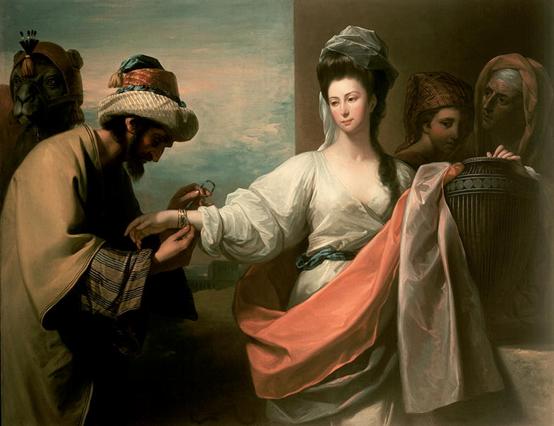 ---Isaac's servant trying the bracelet on Rebecca's arm (painting circa 1800 by Benjamin West)---WIKI