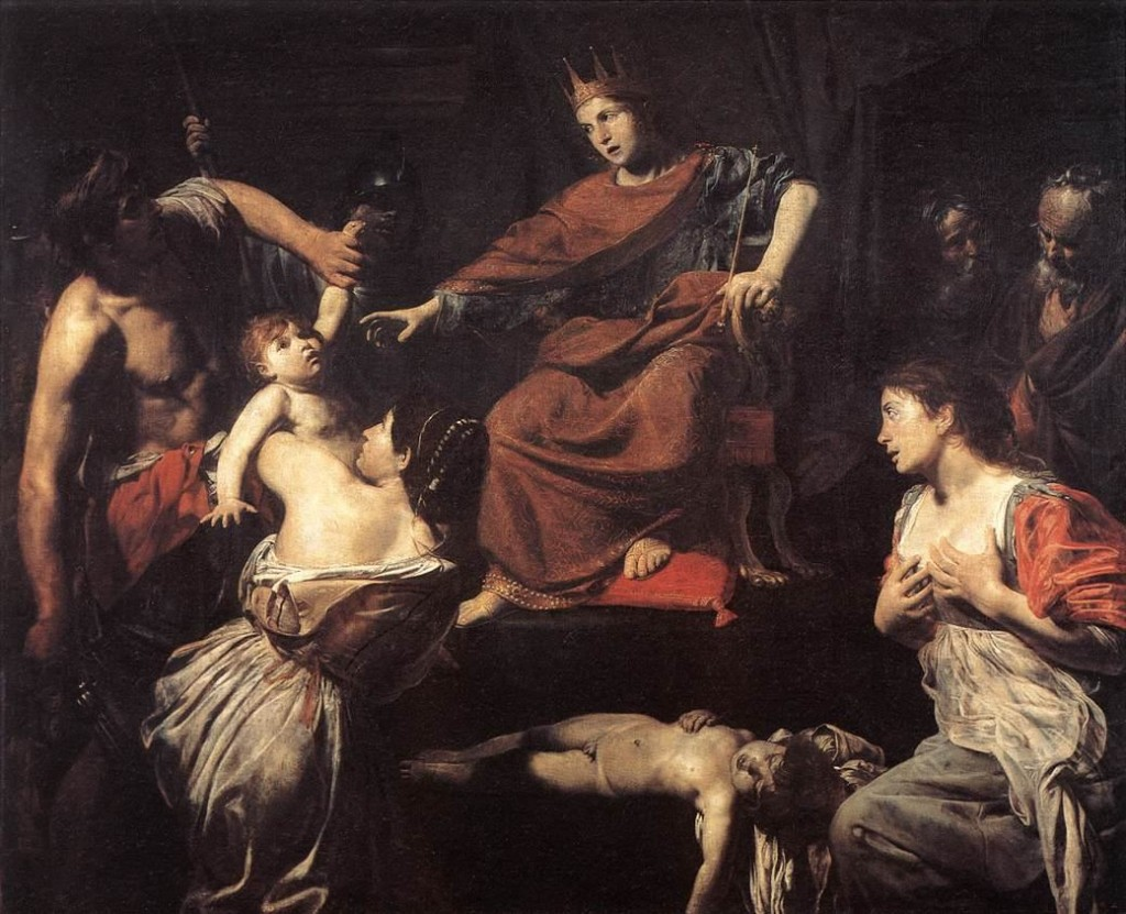 ---The Judgment of Solomon BOULOGNE (c. 1620) See http://www.wga.hu/frames-e.html?/html/v/valentin/solomoa.html for the source of the above photograph of the painting and a description.---