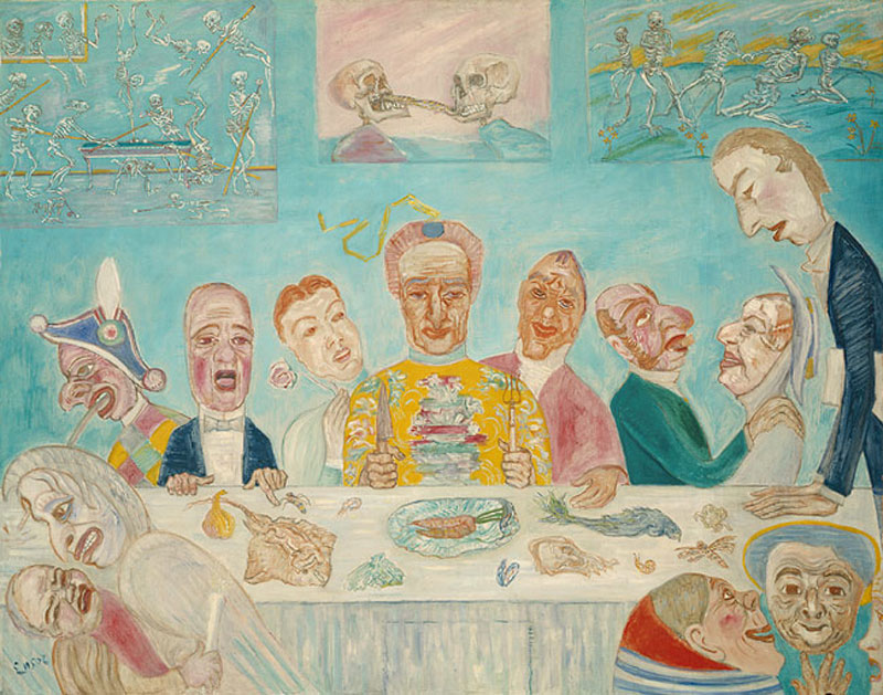 ---Ensor took delight in macabre nightmarish fantasies, like the one he portrayed in The Banquet of the Starved. Guests sit around the Last-Supper style table, clad in grotesque masks and engaged in a variety of sinful activities, inspired by the German occupation of Belgium and accompanying period of starvation: Above, The Banquet of the Starved, 1915.  The Metropolitan Museum of Art. ---click image for source...