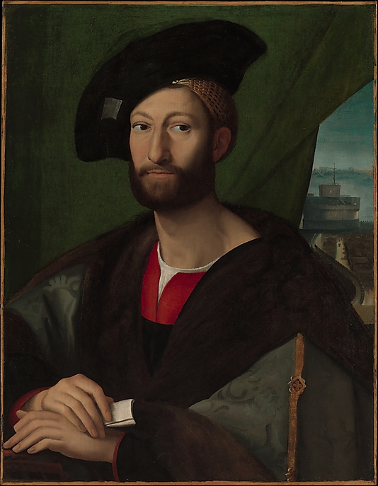 Metropolitan:This painting is an early copy of a portrait by Raphael of Giuliano de Medici, Pope Leo X's younger brother. Giuliano sat for his portrait so that it could be sent to Philiberte of Savoy, the aunt of Francis I of France, to whom he had become engaged. As the couple had not yet met the portrait gave her an idea of his appearance. The match was a political one. Pope Leo was hoping to cement the alliance between the French and the papacy. Portraits were often included in the diplomatic arrangements of such dynastic marriages. click image for source...